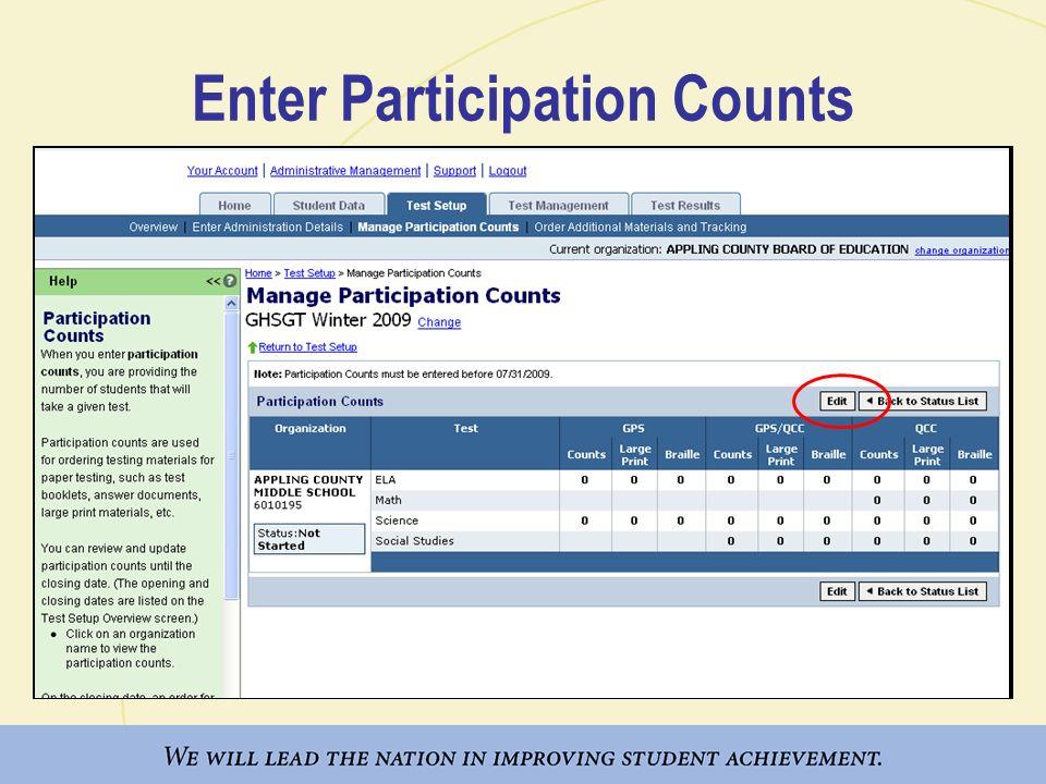 Enter Participation Counts