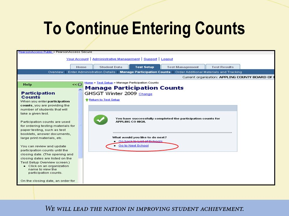 To Continue Entering Counts