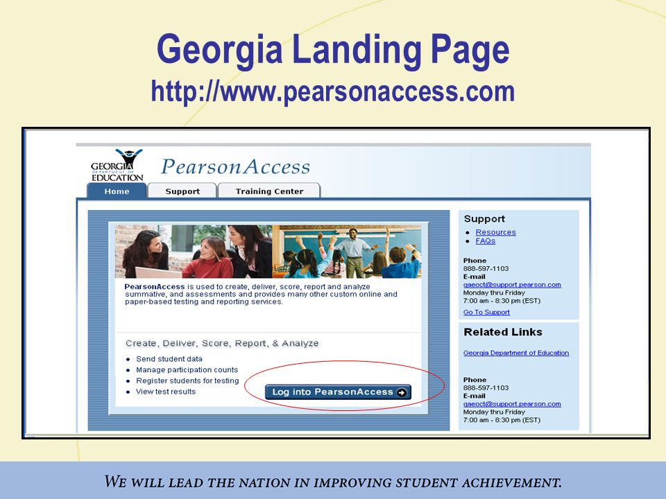 Georgia Landing Page http://www.pearsonaccess.com