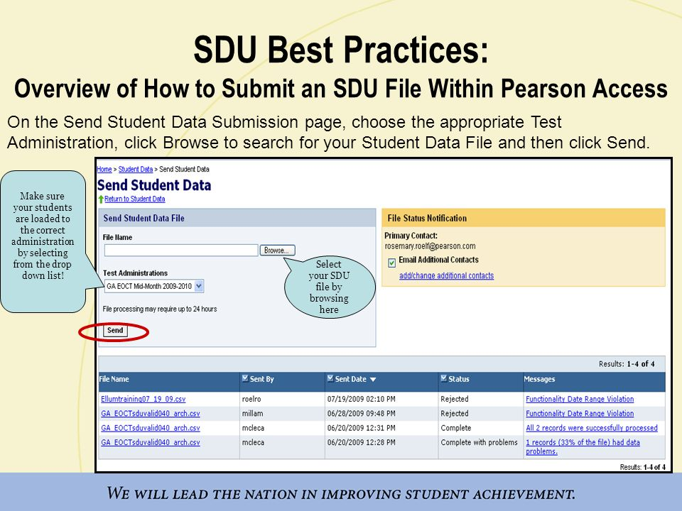 SDU Best Practices: Overview of How to Submit an SDU File Within Pearson Access On the Send Student Data Submission page, choose the appropriate Test