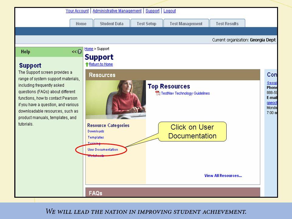 Click on User Documentation