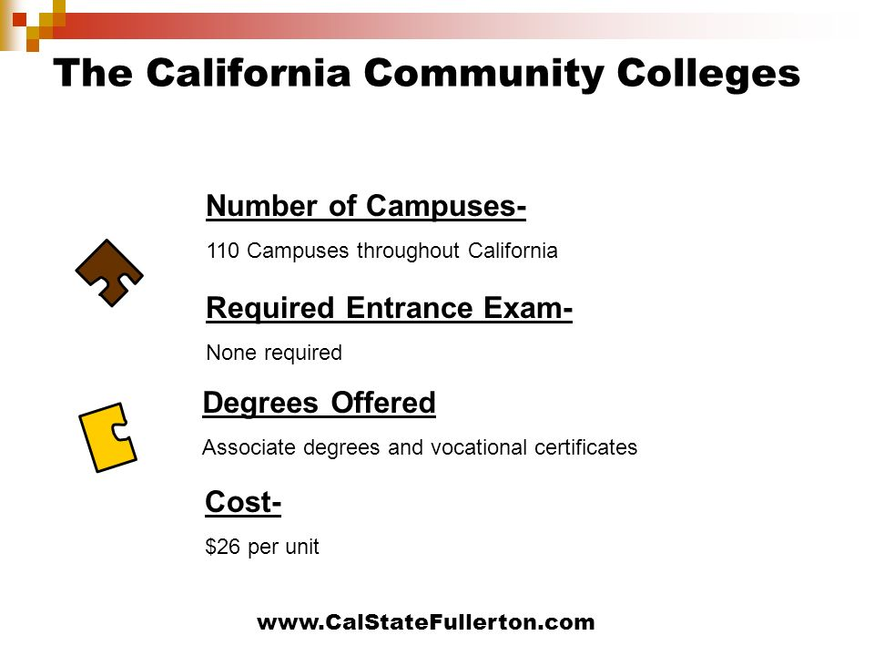 www.CalStateFullerton.com The California Community Colleges Required Entrance Exam- None required Cost- $26 per unit Number of Campuses- 110 Campuses