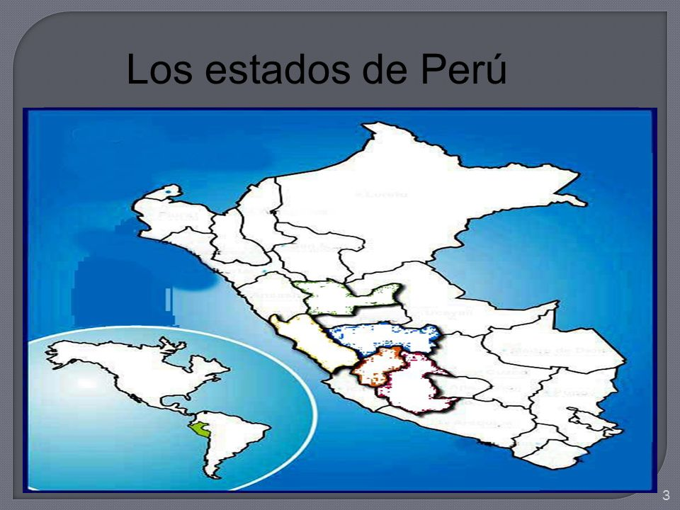 Peru, officially the Republic of Peru is a country in western South America.