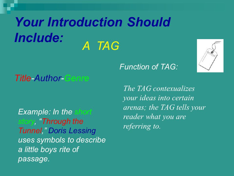 Your Introduction Should Include: Title-Author-Genre A TAG Example: In the short story, Through the Tunnel, Doris Lessing uses symbols to describe a l