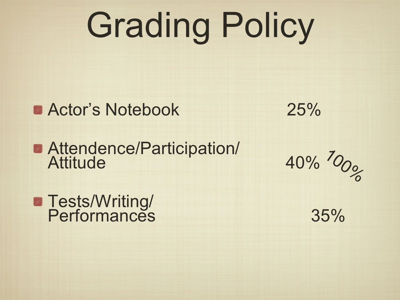 Actors Notebook 25% Attendence/Participation/ Attitude40% Tests/Writing/ Performances 35% Grading Policy 100%