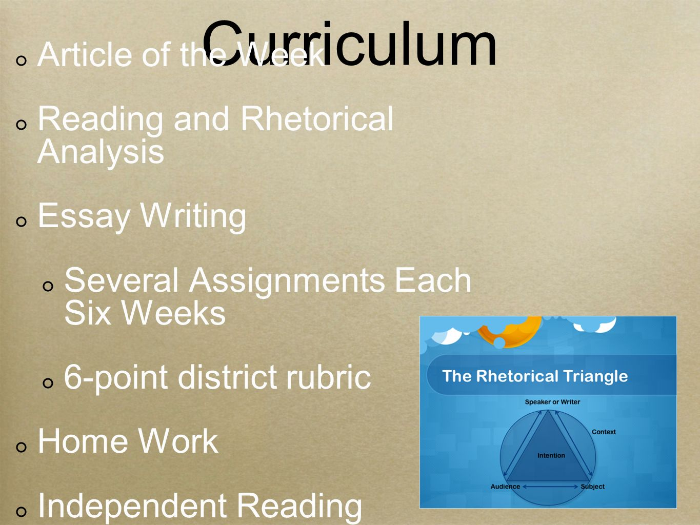 Curriculum Article of the Week Reading and Rhetorical Analysis Essay Writing Several Assignments Each Six Weeks 6-point district rubric Home Work Independent Reading