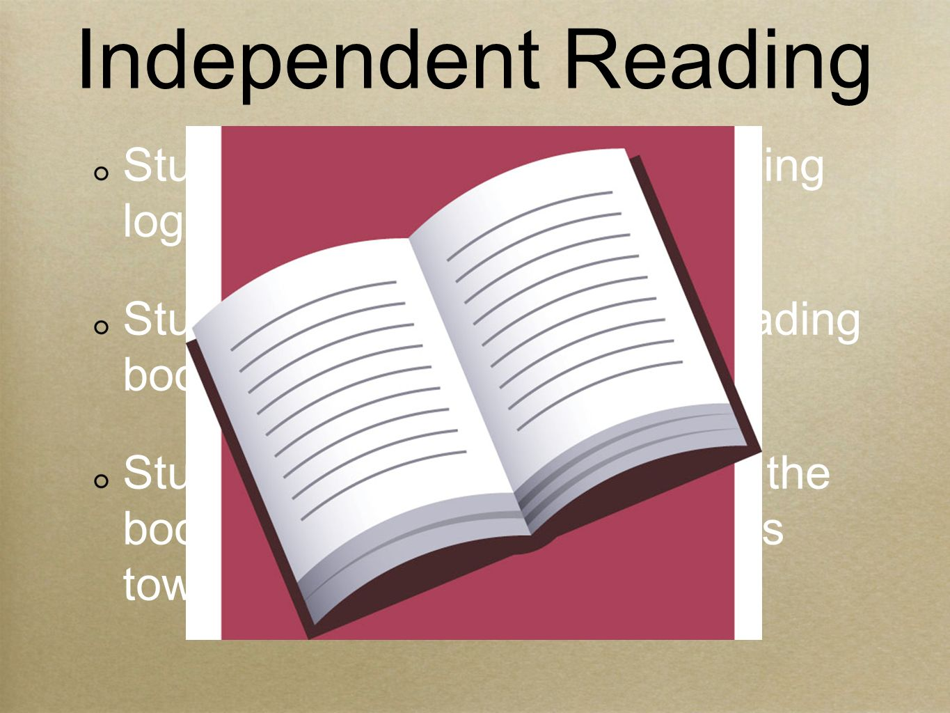 Students must complete a reading log entry five nights per week.