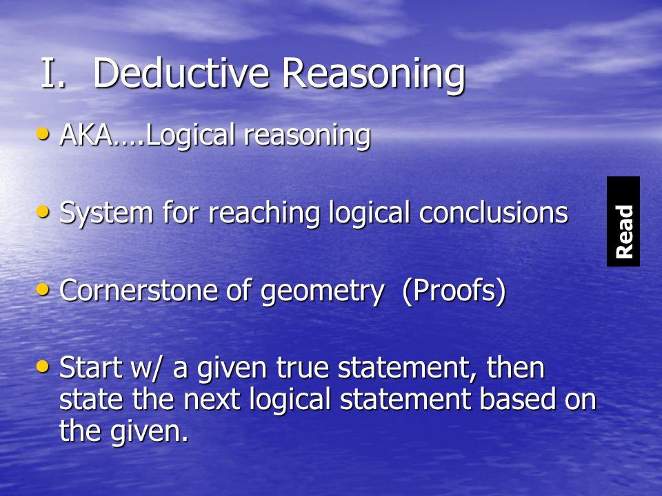 I. Deductive Reasoning AKA….Logical reasoning AKA….Logical reasoning System for reaching logical conclusions System for reaching logical conclusions C