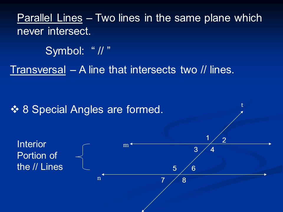 Parallel Lines – Two lines in the same plane which never intersect.