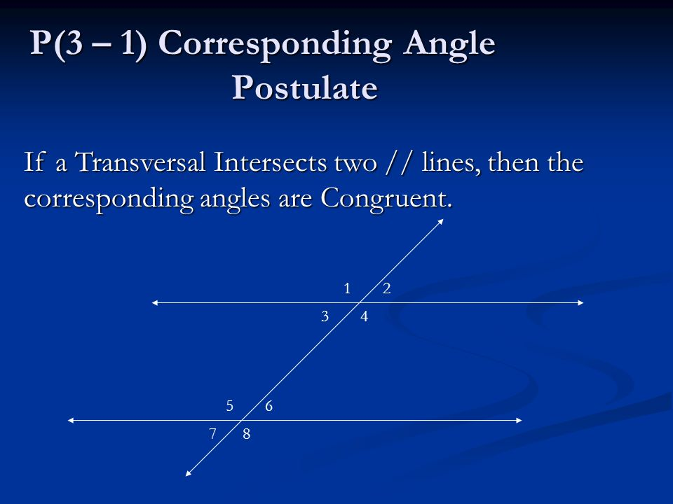 P(3 – 1) Corresponding Angle Postulate If a Transversal Intersects two // lines, then the corresponding angles are Congruent.