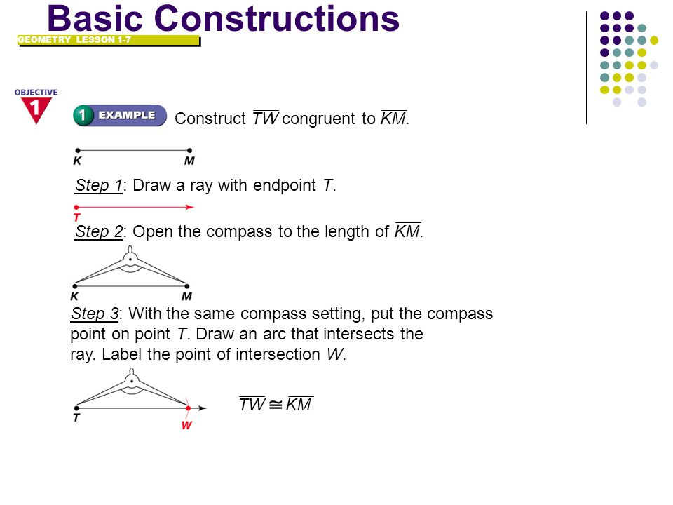 Step 2: Open the compass to the length of KM. Construct TW congruent to KM. Step 1: Draw a ray with endpoint T. GEOMETRY LESSON 1-7 Basic Construction