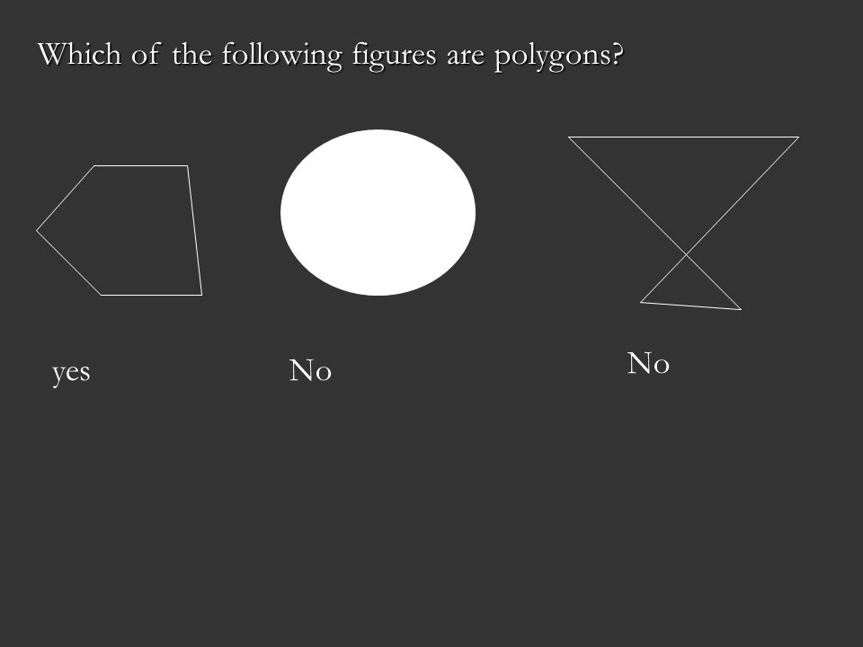 Which of the following figures are polygons? yesNo