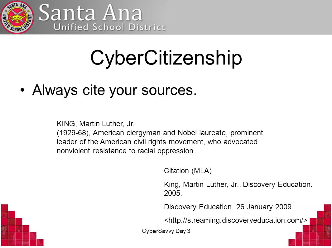 CyberSavvy Day 3 CyberCitizenship Always cite your sources.