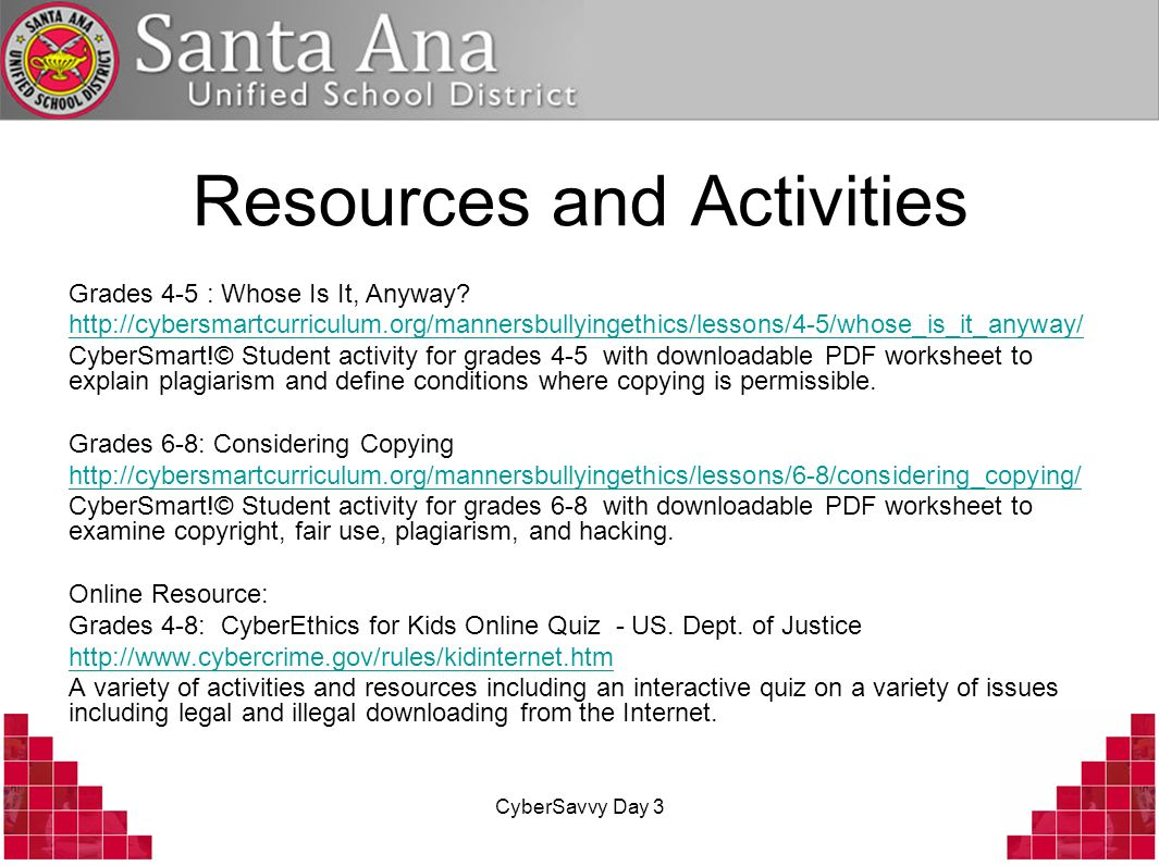 CyberSavvy Day 3 Resources and Activities Grades 4-5 : Whose Is It, Anyway.