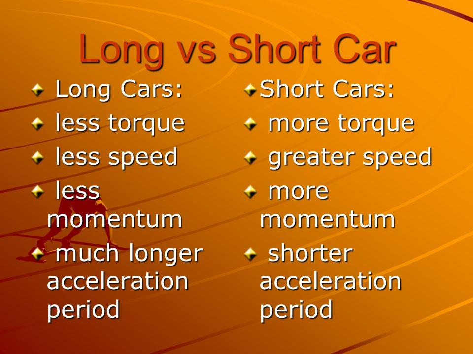 Long vs Short Car Long Cars: Long Cars: less torque less torque less speed less speed less momentum less momentum much longer acceleration period much