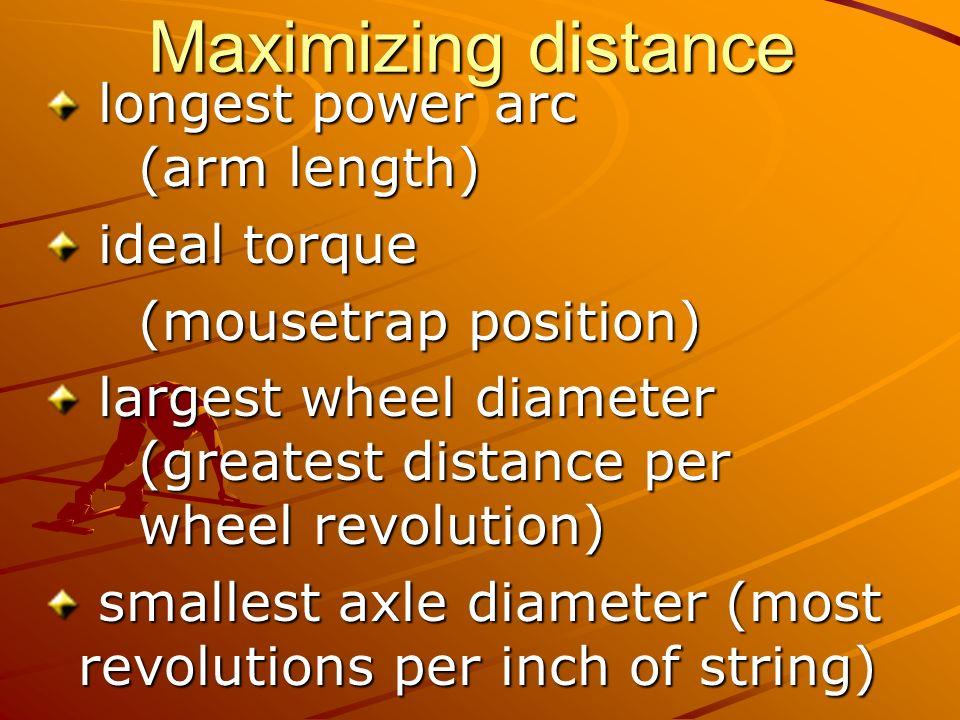 Maximizing distance longest power arc (arm length) longest power arc (arm length) ideal torque ideal torque (mousetrap position) largest wheel diamete