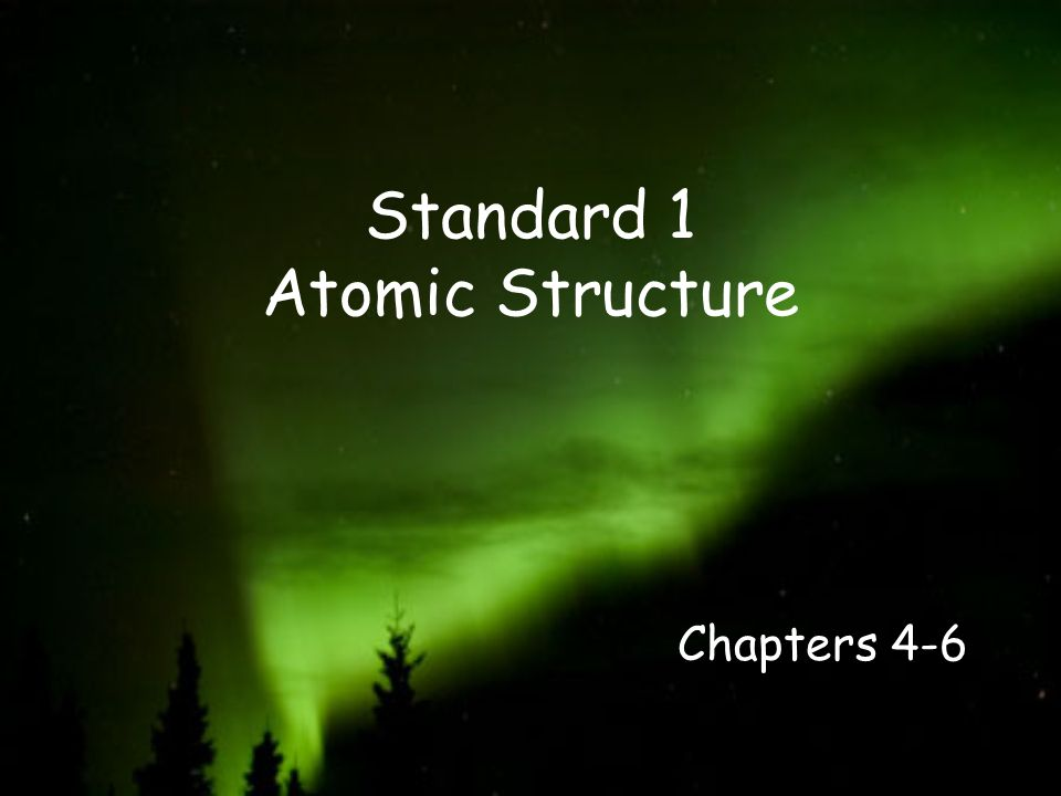 Standard 1 Atomic Structure Chapters 4-6