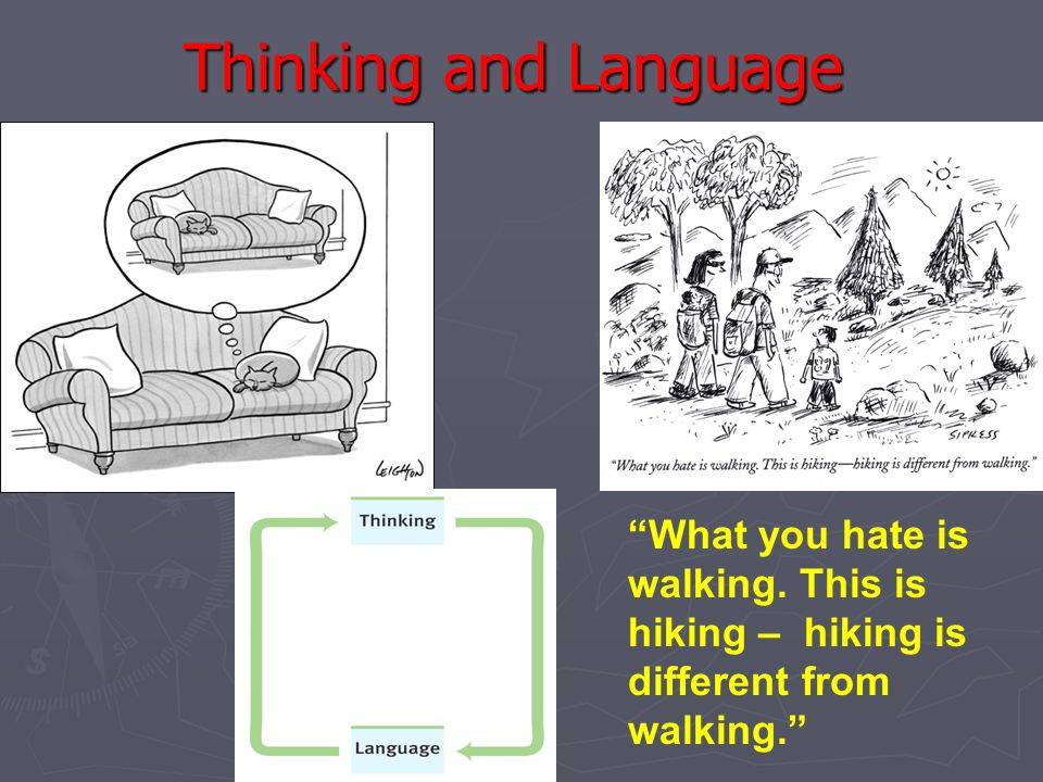 Thinking and Language What you hate is walking. This is hiking – hiking is different from walking.