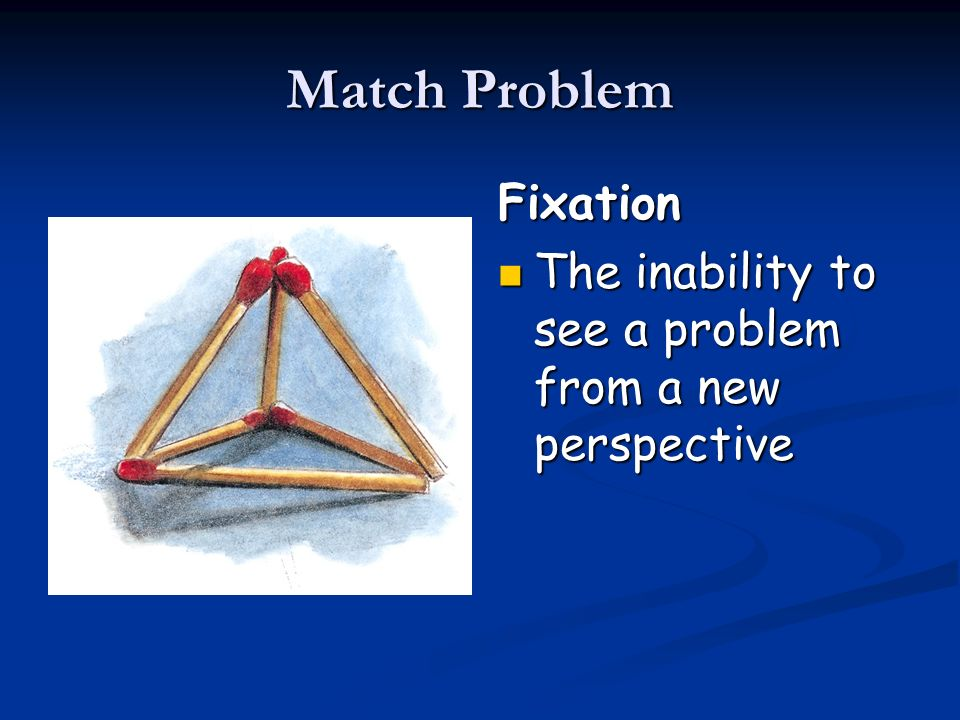 Match Problem Fixation The inability to see a problem from a new perspective