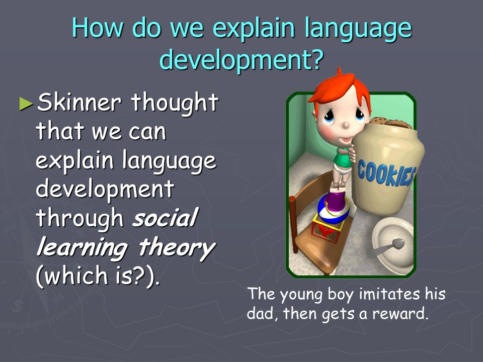 How do we explain language development? Skinner thought that we can explain language development through social learning theory (which is?). Skinner t
