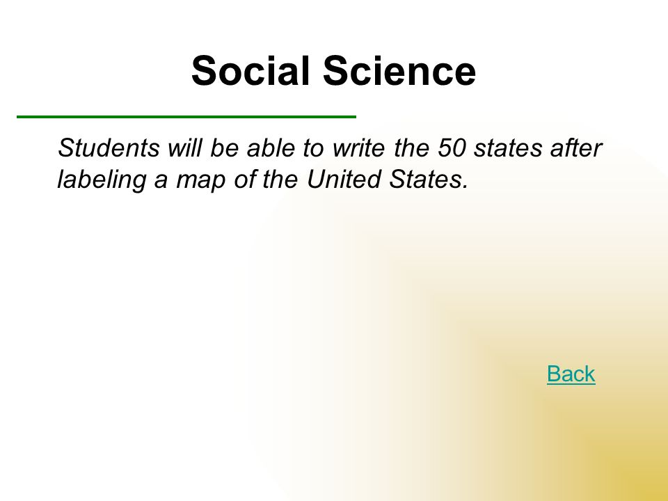 Social Science Students will be able to write the 50 states after labeling a map of the United States.