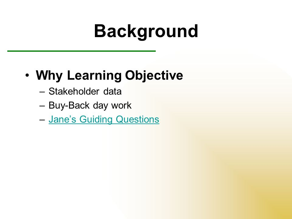Creating a Lesson Objective 2 Questions –What: what is the goal or objective –How: how will students prove they know the goal/objective Format Students will __________ by ___________ (educational goal) (explicit proving behavior) Key proving behavior words