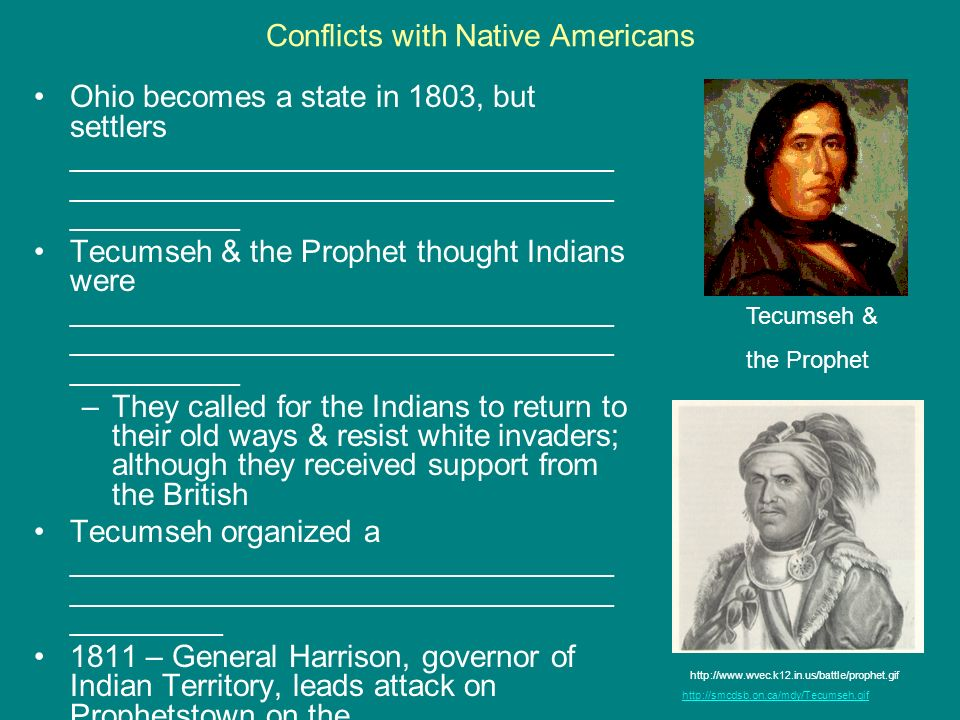 Conflicts with Native Americans Ohio becomes a state in 1803, but settlers ________________________________ ________________________________ _________
