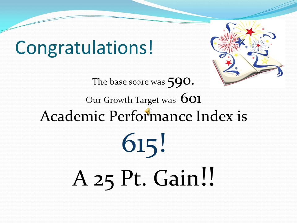 CELEBRATE OUR SUCCESS! 2010-11 School Year 1 st Year of Transformation