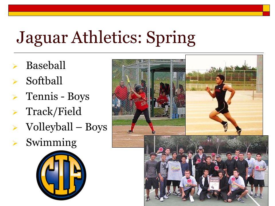 Baseball Softball Tennis - Boys Track/Field Volleyball – Boys Swimming Jaguar Athletics: Spring