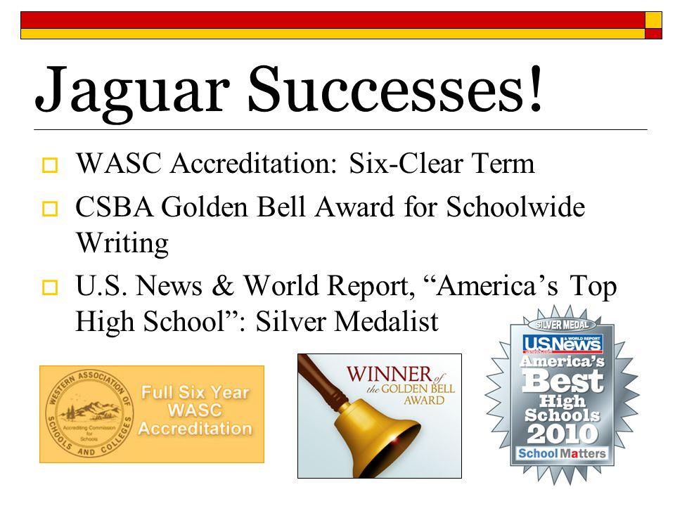 Jaguar Successes! WASC Accreditation: Six-Clear Term CSBA Golden Bell Award for Schoolwide Writing U.S. News & World Report, Americas Top High School: