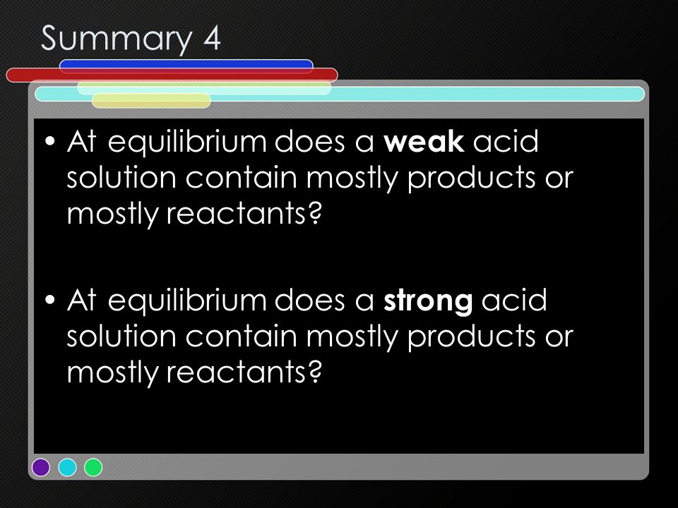 Summary 4 At equilibrium does a weak acid solution contain mostly products or mostly reactants? At equilibrium does a strong acid solution contain mos