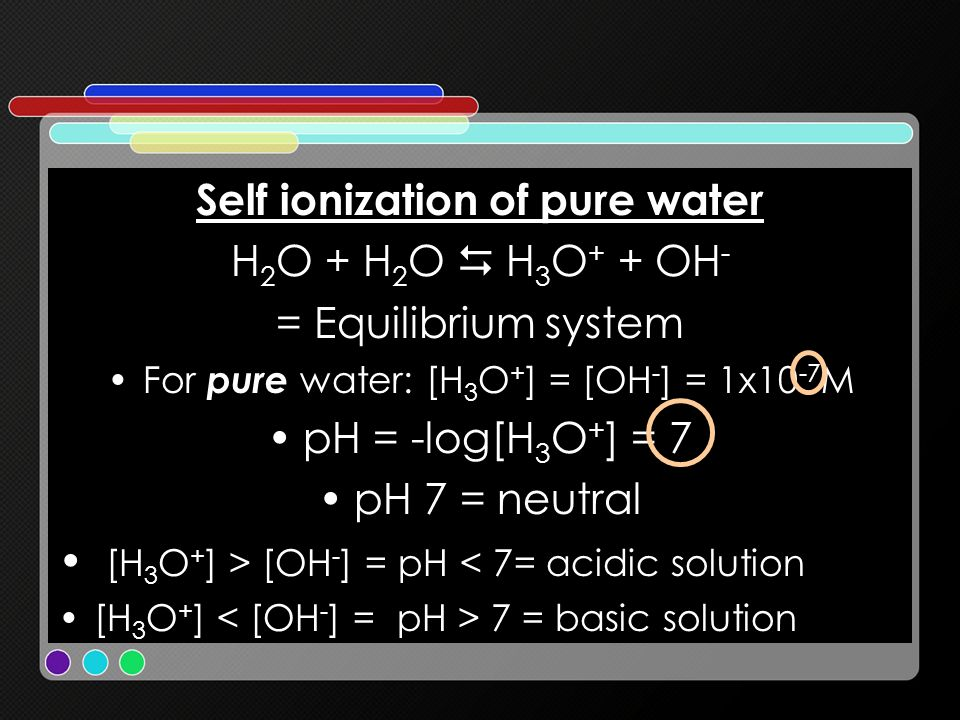 Self ionization of pure water H 2 O + H 2 O H 3 O + + OH - = Equilibrium system For pure water: [H 3 O + ] = [OH - ] = 1x10 -7 M pH = -log[H 3 O + ] =