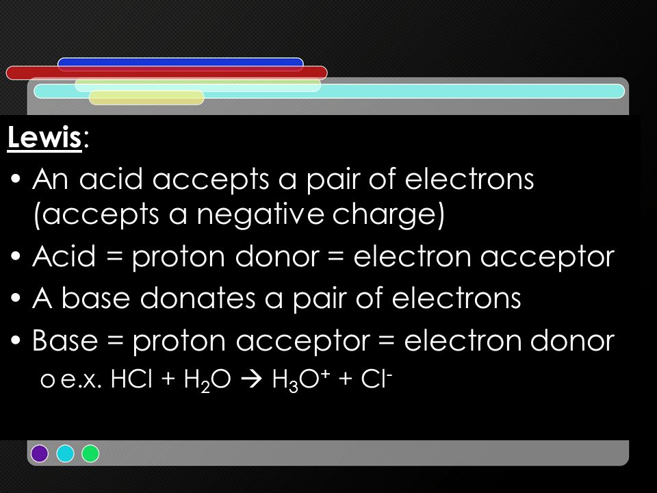 Lewis : An acid accepts a pair of electrons (accepts a negative charge) Acid = proton donor = electron acceptor A base donates a pair of electrons Bas