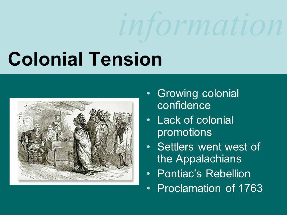 information Main Ideas French relationships with Amerindians Involvement of colonists in European wars, both in Europe and the colonies Colonists grow in confidence as Washington and others succeed in European conflicts in the colonies Colonists expand westward as Britain tries to remain in control