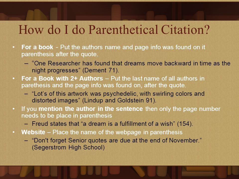 How do I do Parenthetical Citation.
