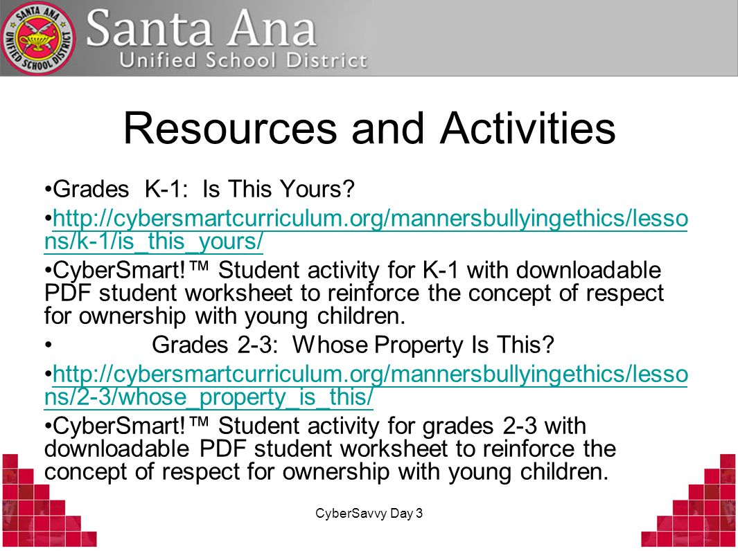 CyberSavvy Day 3 Resources and Activities Grades K-1: Is This Yours.