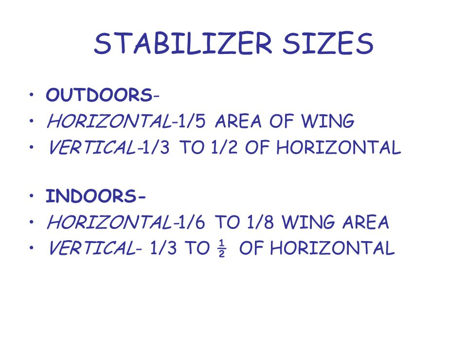 STABILIZER SIZES OUTDOORS- HORIZONTAL-1/5 AREA OF WING VERTICAL-1/3 TO 1/2 OF HORIZONTAL INDOORS- HORIZONTAL-1/6 TO 1/8 WING AREA VERTICAL- 1/3 TO ½ OF HORIZONTAL