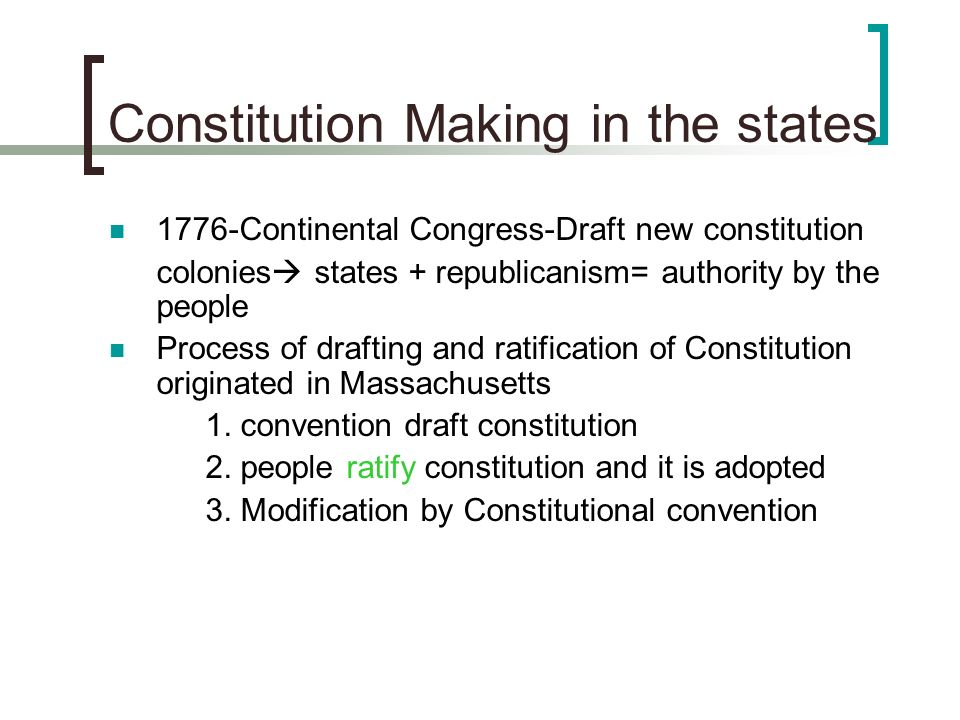 Constitution Making in the states 1776-Continental Congress-Draft new constitution colonies states + republicanism= authority by the people Process of
