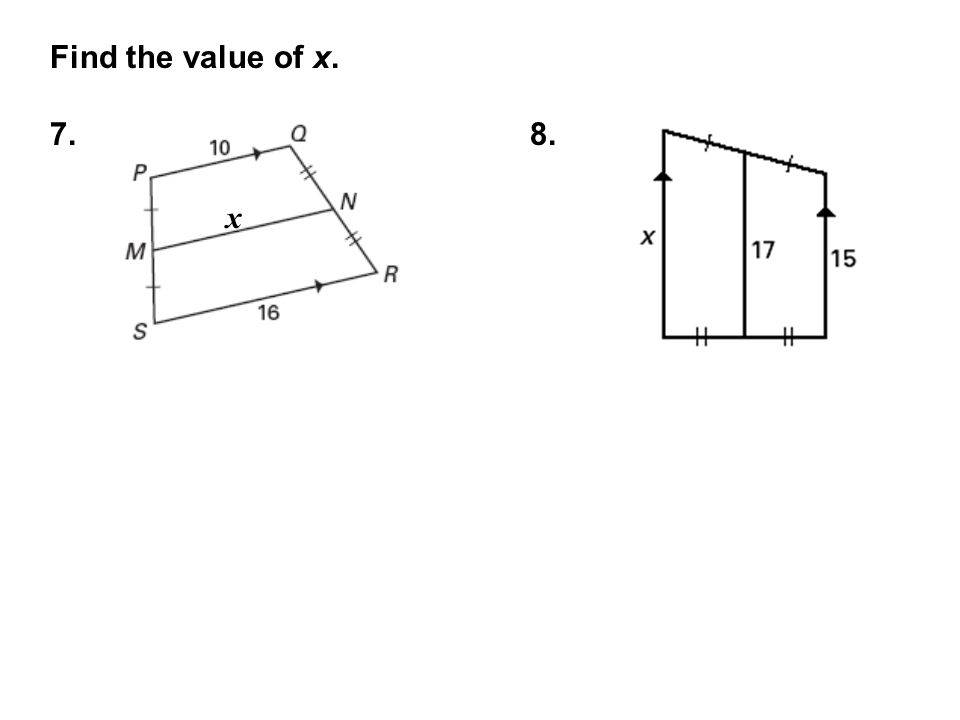 Find the value of x. 7.8. x