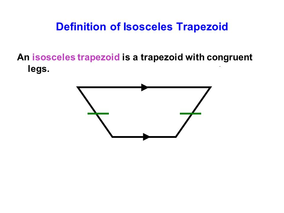 Definition of Isosceles Trapezoid An isosceles trapezoid is a trapezoid with congruent legs.