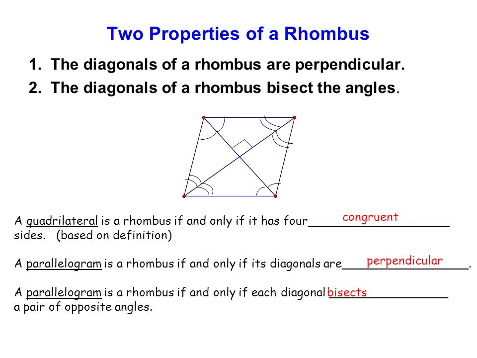 Two Properties of a Rhombus 1. The diagonals of a rhombus are perpendicular.