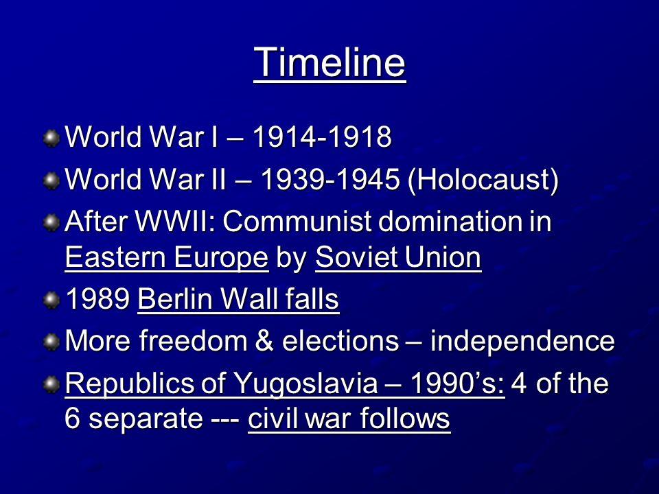 Timeline World War I – 1914-1918 World War II – 1939-1945 (Holocaust) After WWII: Communist domination in Eastern Europe by Soviet Union 1989 Berlin W