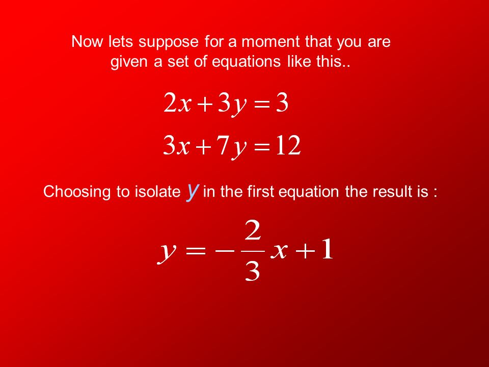 In order to solve a system equations algebraically using substitution you must have one variable isolated in one of the equations. In other words you