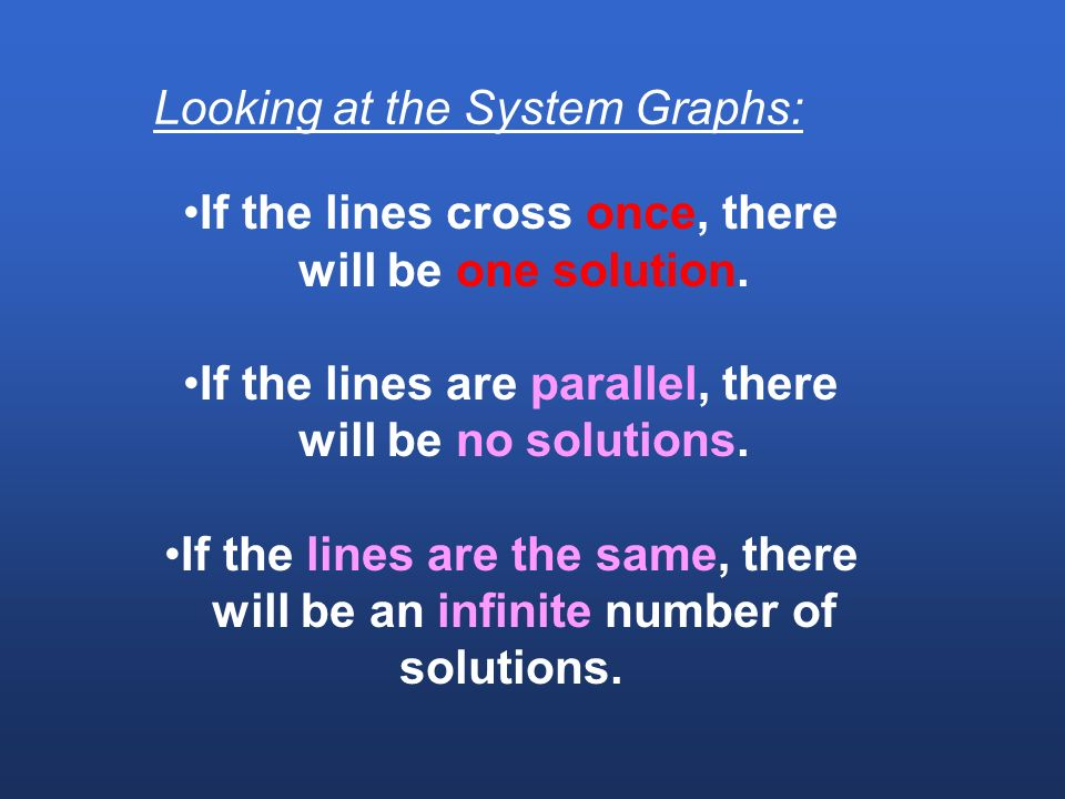 How to Use Graphs to solve Linear Systems.