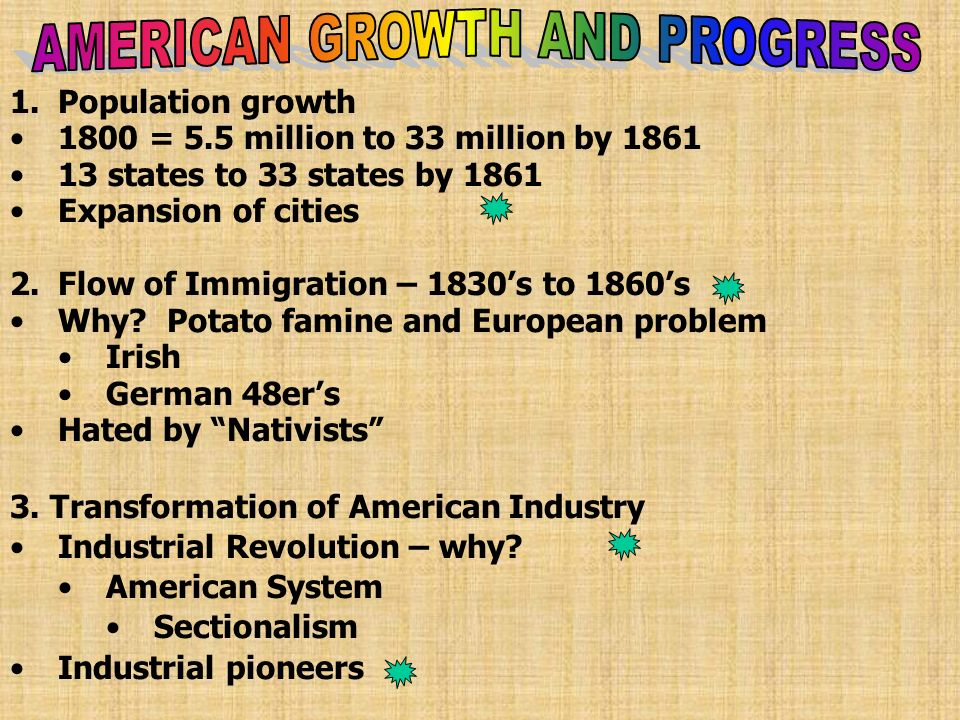 1.Population growth 1800 = 5.5 million to 33 million by 1861 13 states to 33 states by 1861 Expansion of cities 2.Flow of Immigration – 1830s to 1860s Why.