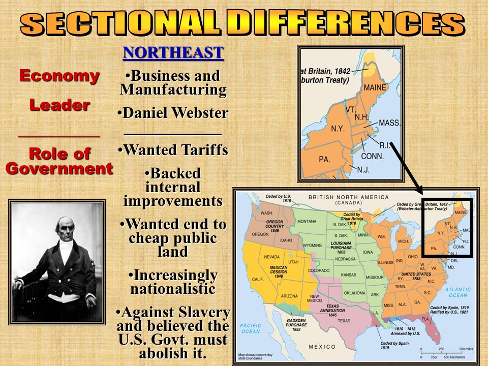 Economy Leader __________ Role of Government NORTHEAST Business and ManufacturingBusiness and Manufacturing Daniel Webster ____________Daniel Webster ____________ Wanted TariffsWanted Tariffs Backed internal improvementsBacked internal improvements Wanted end to cheap public landWanted end to cheap public land Increasingly nationalisticIncreasingly nationalistic Against Slavery and believed the U.S.
