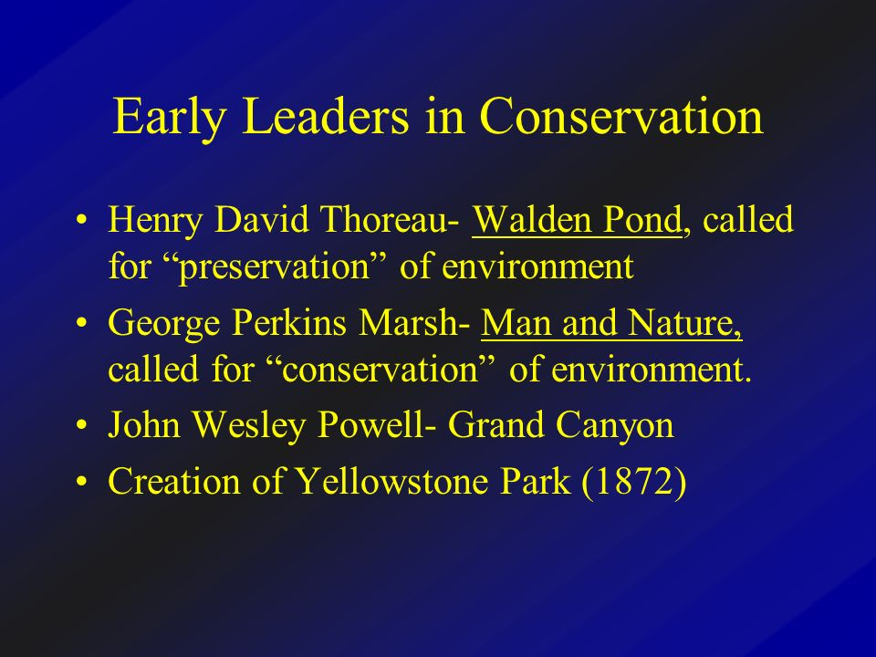 Early Leaders in Conservation Henry David Thoreau- Walden Pond, called for preservation of environment George Perkins Marsh- Man and Nature, called fo