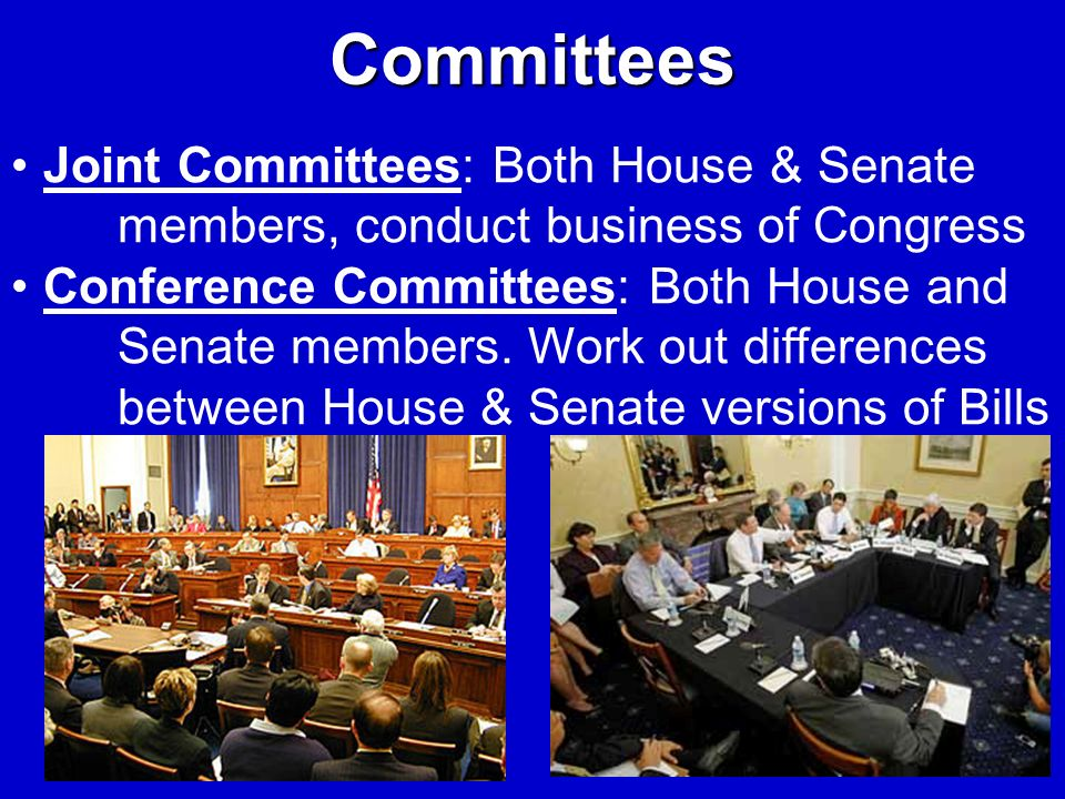 Committees Joint Committees: Both House & Senate members, conduct business of Congress Conference Committees: Both House and Senate members. Work out