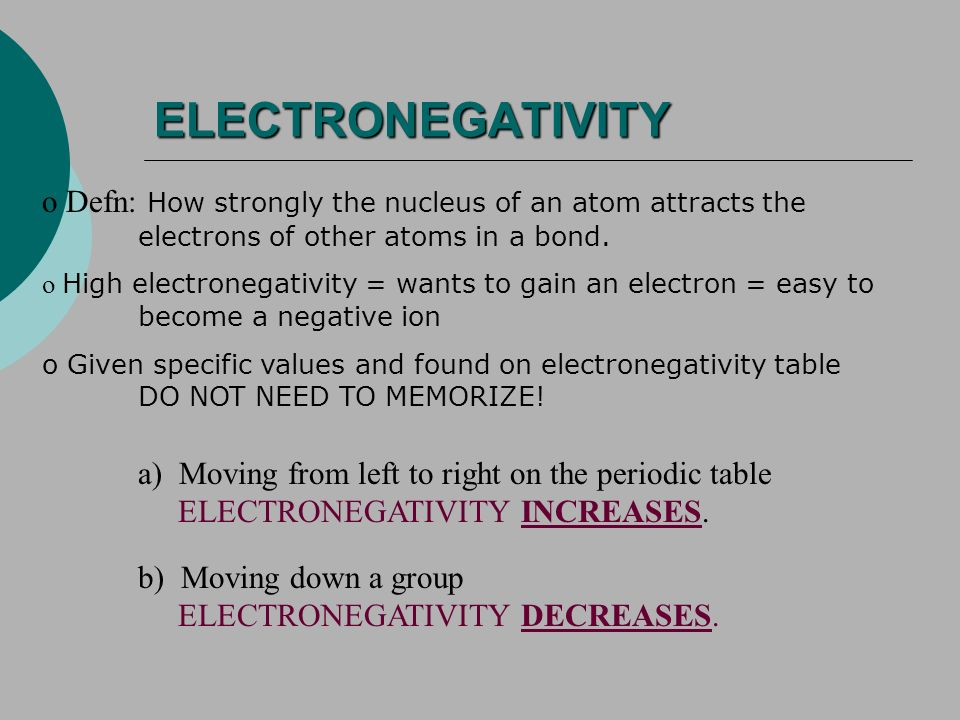 ELECTRONEGATIVITY o Defn: How strongly the nucleus of an atom attracts the electrons of other atoms in a bond.