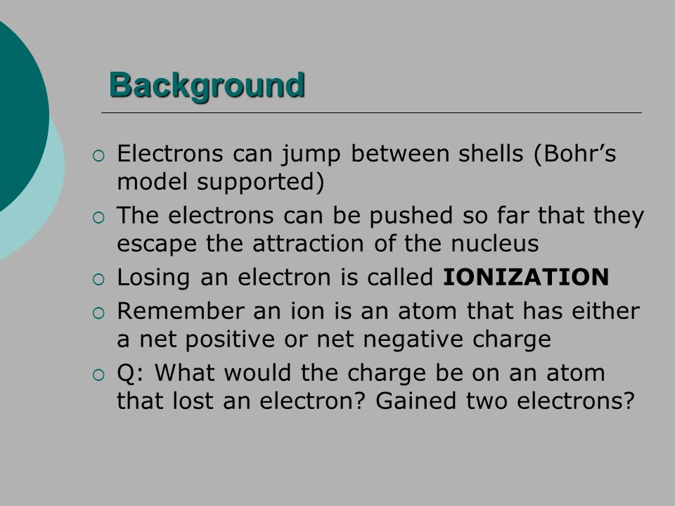 Background Electrons can jump between shells (Bohrs model supported) The electrons can be pushed so far that they escape the attraction of the nucleus Losing an electron is called IONIZATION Remember an ion is an atom that has either a net positive or net negative charge Q: What would the charge be on an atom that lost an electron.